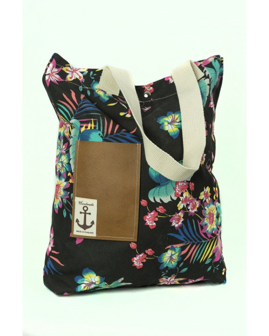 Shopping Bag Floral Μαύρη