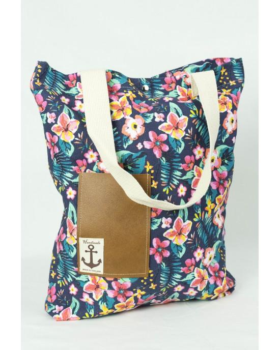 Shopping Bag Floral Μπλε