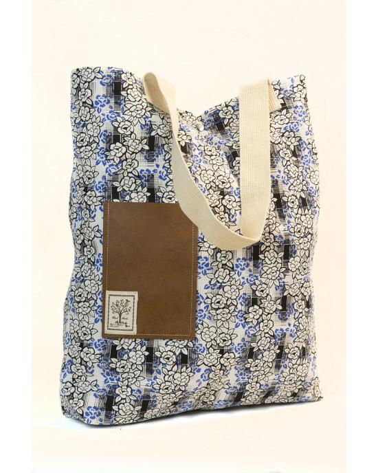 Shopping Bag Flower Άσπρη