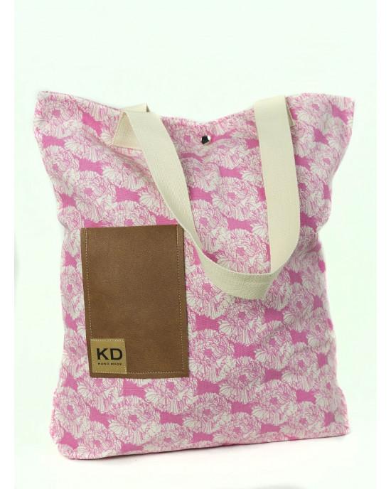 Shopping Bag Flower Ροζ