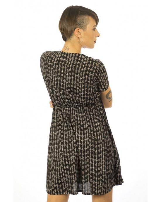 Φόρεμα Κρουαζέ Κοντομάνικο Μαύρο