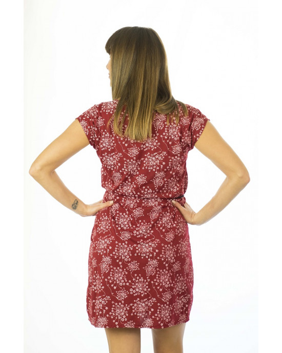 Φόρεμα Κοντομάνικο με Σχέδιο Λουλούδια