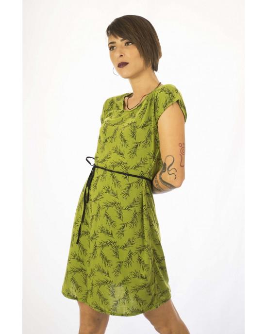 Φόρεμα Κοντομάνικο με Σχέδιο Λουλούδια Ic08