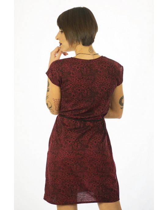 Φόρεμα Κοντομάνικο με Σχέδιο Λουλούδια Ic09
