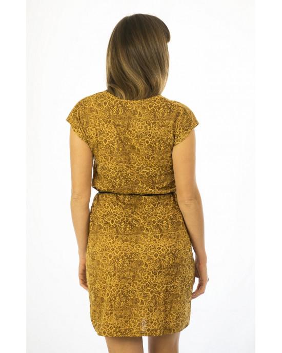 Φόρεμα Κοντομάνικο με Σχέδιο Λουλούδια Ic10