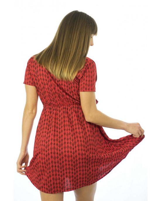 Φόρεμα Κρουαζέ Κοντομάνικο Κόκκινο