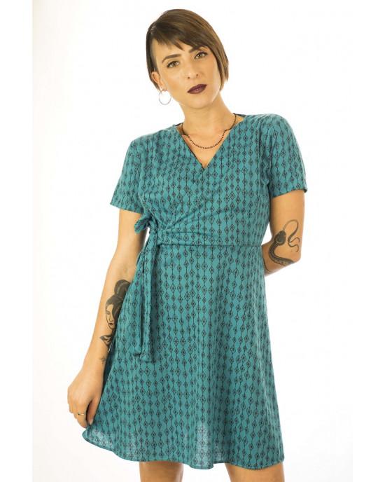 Φόρεμα Κρουαζέ Κοντομάνικο Τυρκουάζ