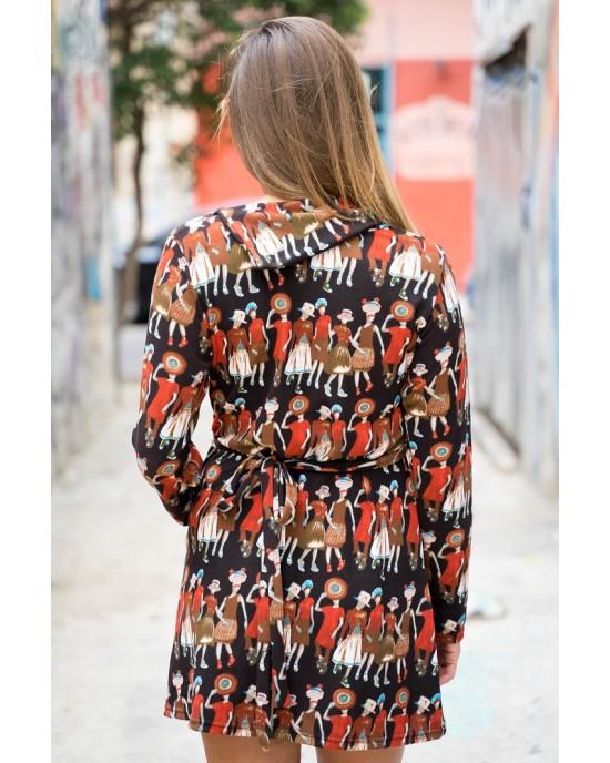Φόρεμα Μακρυμάνικο Εμπριμέ Fst44