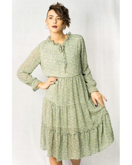 Φόρεμα Midi Μακρυμάνικο Floral Λαχανί