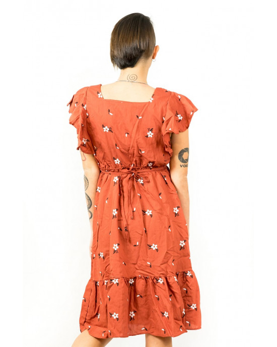 Φόρεμα Floral Τετράγωνο Λαιμο Κεραμιδί