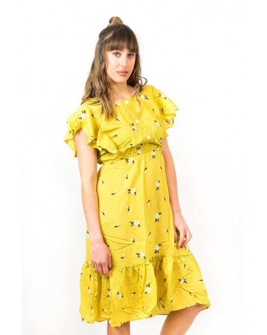 Φόρεμα Floral Τετράγωνο Λαιμο Κίτρινο