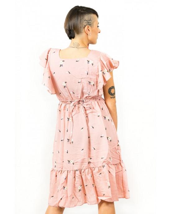 Φόρεμα Floral Τετράγωνο Λαιμο Ροζ
