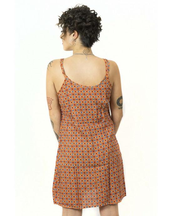 Φόρεμα Flower Πορτοκαλί l