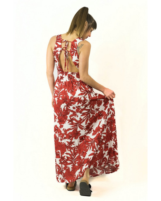 Φόρεμα Maxi Floral Κόκκινο