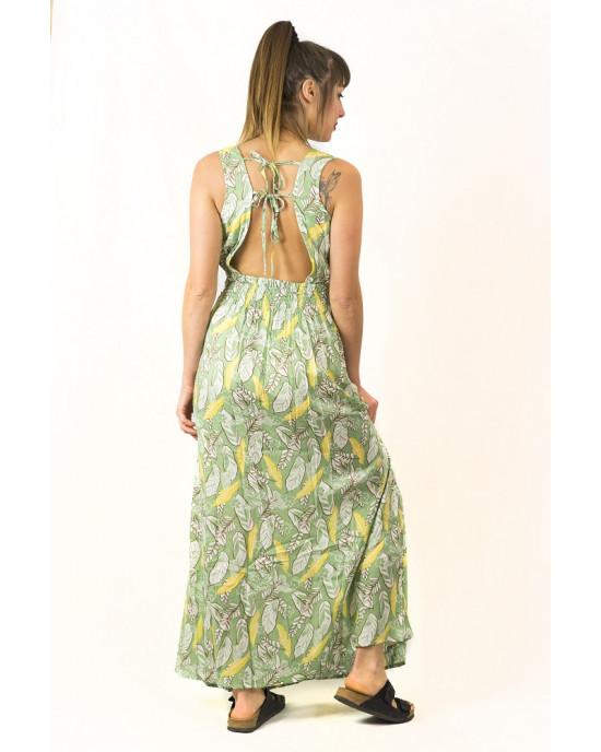 Φόρεμα Maxi Floral Λαχανί