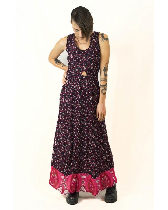 Φόρεμα Maxi Floral Μπλε με Φούξια