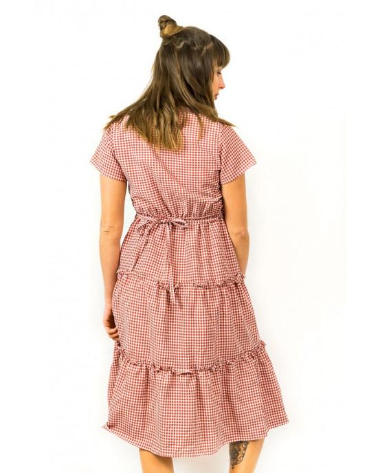 Φόρεμα Midi Καρό Κόκκινο