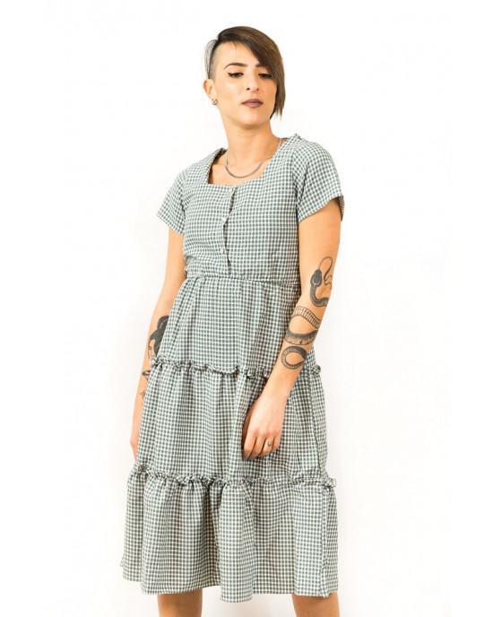 Φόρεμα Midi Καρό Πράσινο