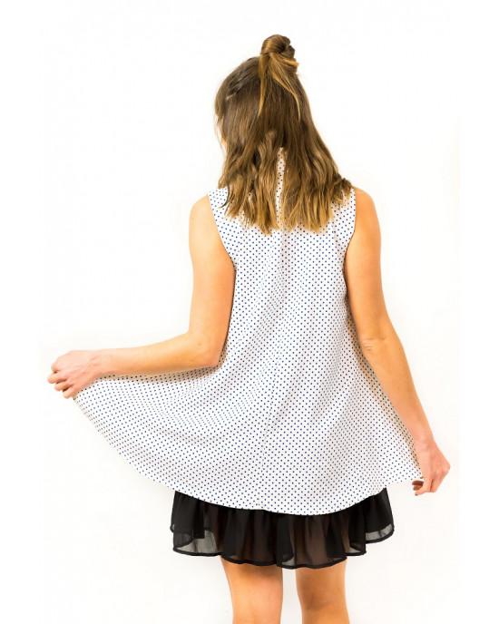 Φόρεμα Αμάνικο Πουά Λευκό