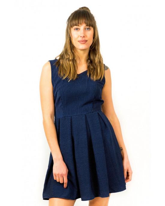 Φόρεμα Αμάνικο Ριγέ Μπλε