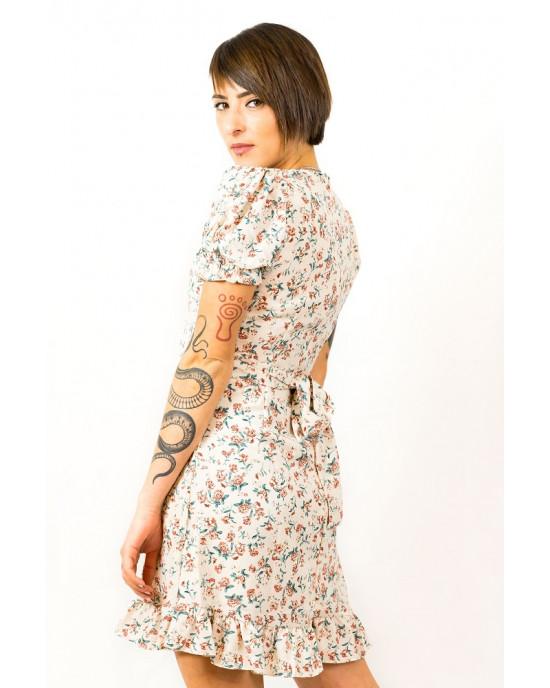 Φόρεμα Κοντομάνικο Floral Μπεζ με Λάστιχο στα Μανίκια