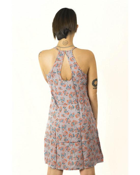 Midi Φόρεμα Flower Γκρι