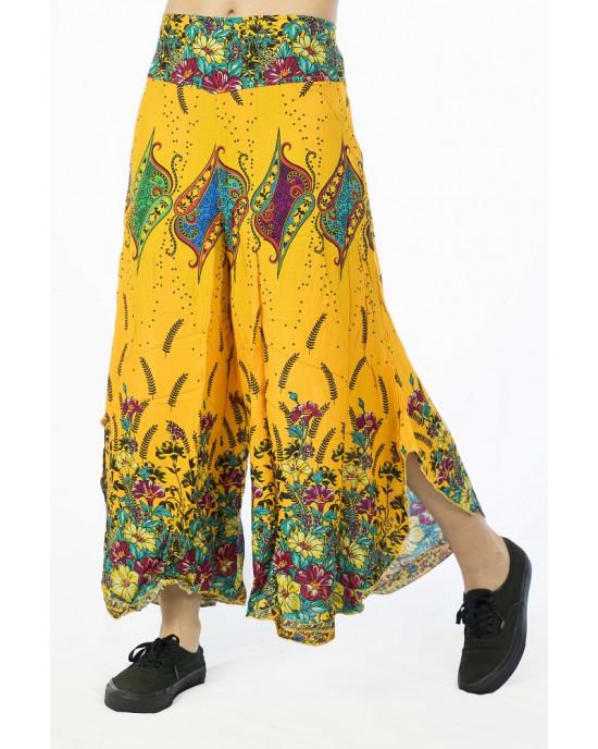 Παντελόνα Καμπάνα Floral Κίτρινη