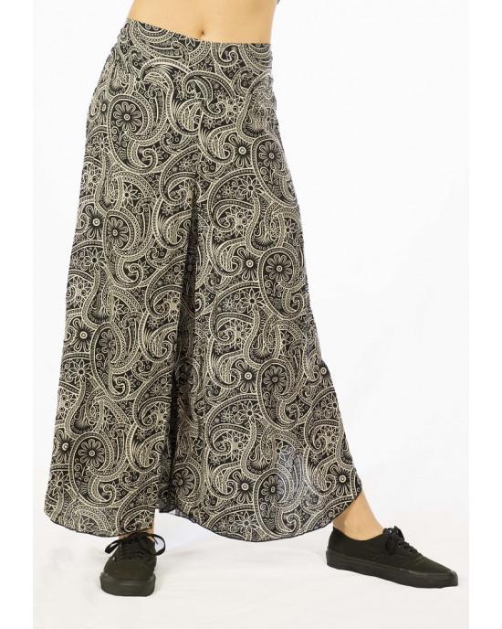 Παντελόνα Καμπάνα Λαχούρια Flower Μαύρη