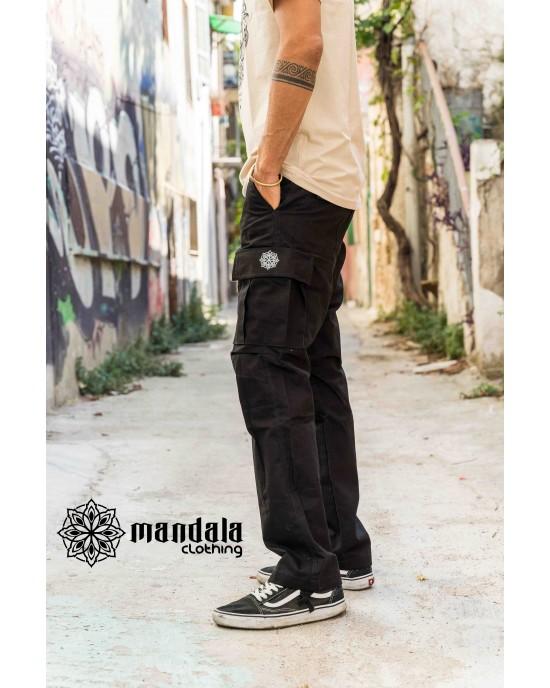 Pant Cargo Unisex Mandala Design 01 Black