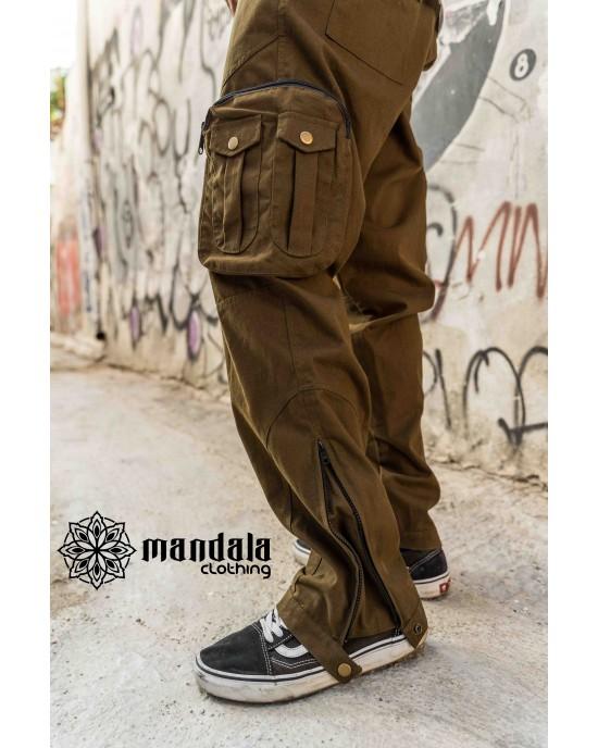 Pant Cargo Unisex Mandala Design 02 Khaki